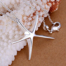 925 Sterling Silver Plated Chain Neckless Starfish Necklace Pendant Lady Jewelry