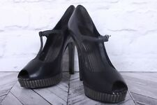FAITH Black Leather Open Toe Platform Stiletto Heels Court Pumps RRP £99 UK 6 39