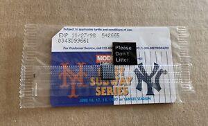 6/16-6/19/97 First Subway Series Sealed Expired Metrocard- NY Yankees Vs NY Mets