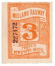 (I.B) Midland Railway : Prepaid Newspaper Parcel 3d (large format)