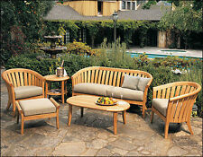 Lenong A-Grade Teak Wood 6 pc Outdoor Garden Patio Sofa Lounge Chair Set New