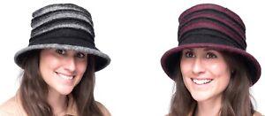 Ladies Outdoor Wool Casual Walking Packable Fleece Bucket Cloche Hat Bianca
