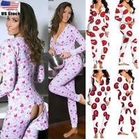 Women V Neck Lip Print Bodycon Pajamas Jumpsuit Romper Long Sleeve Bodysuit US