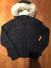 Abercrombie Fitch Little Girls Fur Hooded Sherpa Lined Puffer Coat Size XL Navy
