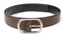 Gucci Mens Belt Size 38 / 95 Distressed Leather Strap Oval Buckle Brown