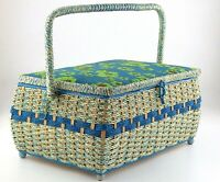 Vintage Plastic Rattan Wicker Picnic Basket Sewing Chest Green Flowers MCM S136