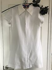 Vintage White Dress 60s 70s Zip Front Polyester Double Knit Jersey Collared 14
