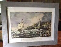 """Antique Print """"American Coast Scene"""" Desert Rock Light House, Maine Framed 18.5"""""""