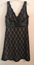 WOMENS S.L. FASHIONS SLEEVELESS BLACK LACE V-NECK DRESS, W/ BEAD DETAILS, SIZE 8