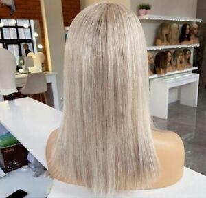 Echthaar Perücke Imitat Monofilament Zweithaar Human Hair Wig Glatt Blond