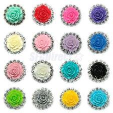 16 Mixed Flatback Flower Beads Embellishment Phone Scrapbook DIY Craft 21mm