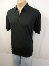 199€ JOHN SMEDLEY Designer Polo Shirt Gr.50 M UK42 100% Baumwolle Schwarz
