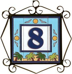 """Large 6"""" x 3"""" 15cm x 7.5cm  Spanish Beach Design Ceramic Door Number Tiles"""
