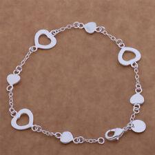 925 Silver Plated Love Heart Bracelet Charm Bangle Fashion Women Jewelry Gift UK
