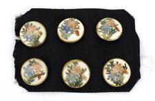 Japanese Satsuma porcelain floral button set of 6