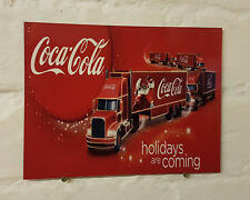 Coca Cola truck Sign Christmas metal Aluminium vintage xmas holidays are coming