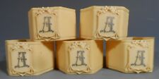 "Lot of 5 Bakelite Hexagonal Shape Napkin Rings w/ Monogram Letter ""A"" ca. 20th c"