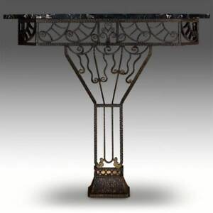 ART DECO CONSOLE WROUGHT IRON AND MARBLE ENTRANCE HALLWAY FRANCE C. 1930