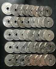 Vintage Denmark Coin Lot - 25 ORE - 40 Excellent Holed Series Coins - Lot #J15