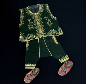 Muslim Jabador Boy Green Dress Morocco Circumcision Culture Balgha Shoe 4-6 year