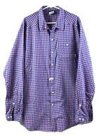 Columbia Button Up Shirt Mens LT Pink Blue Check Long Sleeve 100% Cotton Euc