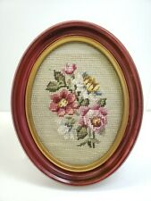 """Vintage Framed Needle Point Flowers Green Background in Oval Frame 9"""" x 7"""""""