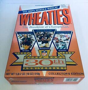 NFL SUPER BOWL 30TH ANNIVERSARY UNOPENED FULL WHEATIES BOX - 1967 - 1996 AIKMAN