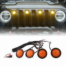 4PCS  LED Amber Grille Lights yellow light Fit For 2018-2020 Jeep Wrangler JL EA