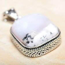 "Handmade Dendritic Tree Natural Agate 925 Sterling Silver Pendant 1.75"" #P13845"