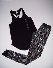 Victoria's Secret PiNK THERMAL Racer Tank top Pajamas Pants New  Xsmall XS Black