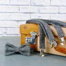Handmade Yorkshire Tweed Bow Tie and Braces - Black Grey Birdseye