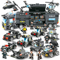 647pcs Lego City Police Series SWAT: 8 IN 1 with Truck Station Building Blocks