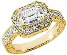 1.51 ct total EMERALD CUT w/ Round DIAMOND Halo Engagement 14k Yellow Gold Ring