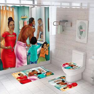 African Bathroom Rug Set Shower Curtain Thick Non Slip Toilet Lid Cover Bath Mat