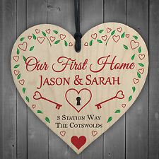 Personalised Our First Home House Warming Wood Hanging Plaque Gift Sign Address
