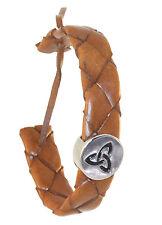 "Weave Wristband 7"" Brown Amrwb106 Bracelet Irish Trinity Knot leather"