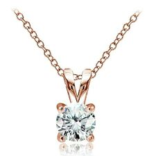 Rose Gold Tone over 925 Silver 1ct Cubic Zirconia 6.5mm Round Solitaire Necklace