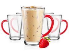 6 Latte Macchiato Gläser 300 ml mit rotem Henkel Tee Saft Kaffee Kaffeegläser