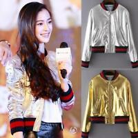 Metallic Womens Hip Hop Leather Jacket MOTO Gold Silver Biker Bomber Coat Jacket