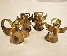 Set of 4 Brass Angel Napkin Ring Holders W/ Flute Cymbal Book Candle
