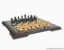 Luxury handmade chess set-wooden chessmen ebony mosaic BLACK -extra queens