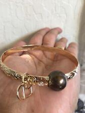 Bangle Size 8.5, Brown Shell Pearl Gold Hamilton Plated Hawaiian Pearl Charm