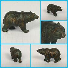 Antique Bronze Copper GRIZZLY POLAR BEAR Miniature Metal Statue Paperweight