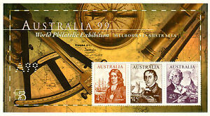 1999 NAVIGATORS 'Brown' minisheet with A99 perfin MNH. Less than 32000 exist.