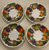 "Set Of 4 Roy Kirkham Orchard Saucer Plates 7"" Fine Bone China 1991"