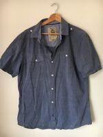 """Next Blue Size L 44"""" Cotton Short Sleeve Shirt <T7585"""