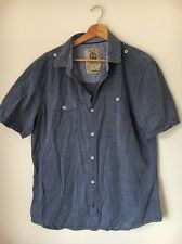 "Next Blue Size L 44"" Cotton Short Sleeve Shirt <T7585"
