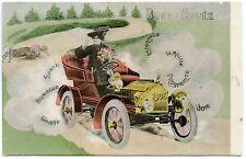 ANCIENNE AUTOMOBILE  .OLD CAR . FEMME AU VOLANT, MORT AU TOURNANT. ANNéE 1906.