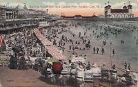 Postcard Bathing Beach + New Garden Pier Atlantic City NJ 1915