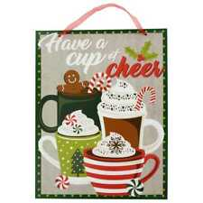 """Welcoming Winter Beverages Hanging Sign """"Have a Cup of Cheer""""  13.5""""X 10.5"""""""